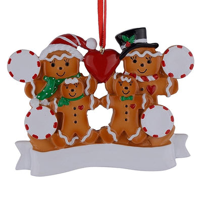 Gingerbread Family of 4 Hand Painted Resin Christmas Ornament by BestPysanky