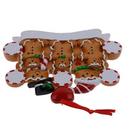 Family of 3 in Gingerbread House Hand Painted Resin Christmas Ornament