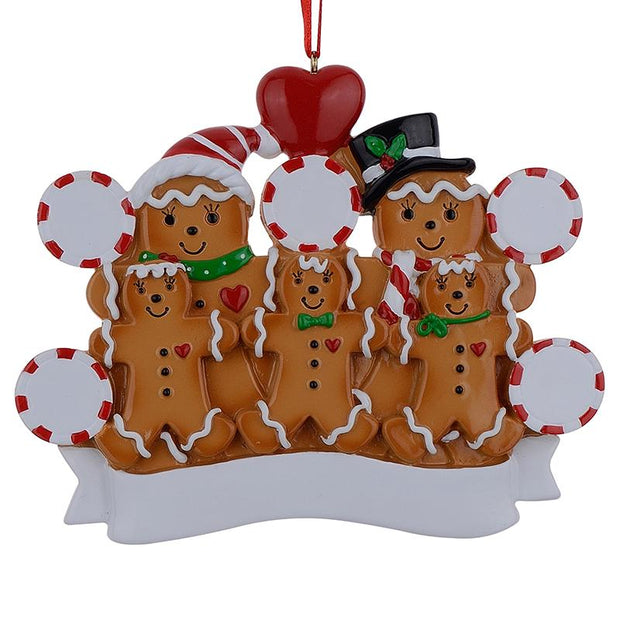 Family of 3 in Gingerbread House Hand Painted Resin Christmas Ornament by BestPysanky