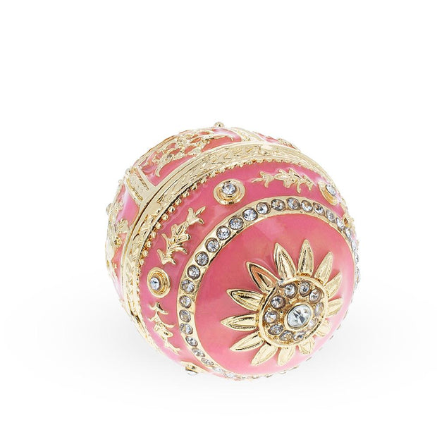 Pink Enamel Royal Inspired Russian Egg with Clock Surprise
