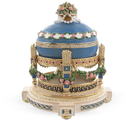 1907 Love Trophies Egg (Cradle with Garlands) Musical Royal Russian Egg by BestPysanky