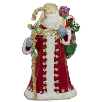Santa with Christmas Gifts Bag Jeweled Trinket Box Figurine 3.5 Inches by BestPysanky