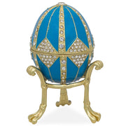 Crystal Rhombus on Blue Enamel Royal Inspired Russian Egg 3.15 Inches by BestPysanky