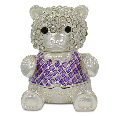 Crystal Teddy Bear Trinket Box Figurine 2 Inches by BestPysanky
