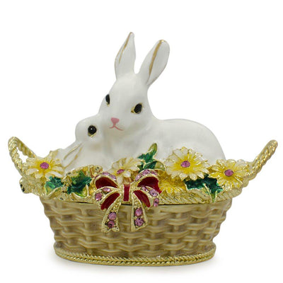 White Bunny Family in Easter Basket Trinket Box Figurine 2.5 Inches by BestPysanky