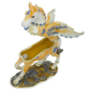 Jeweled Pegasus Horse Trinket Box Figurine 3.25 Inches