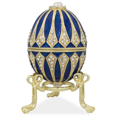 Blue Enamel Jeweled Royal Inspired Russian Easter Egg 3.25 Inches by BestPysanky
