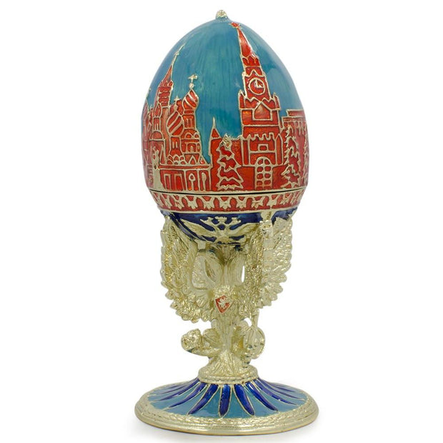 Moscow Kremlin on Double-Head Eagle Royal Inspired Russian Egg 4.25 Inches by BestPysanky