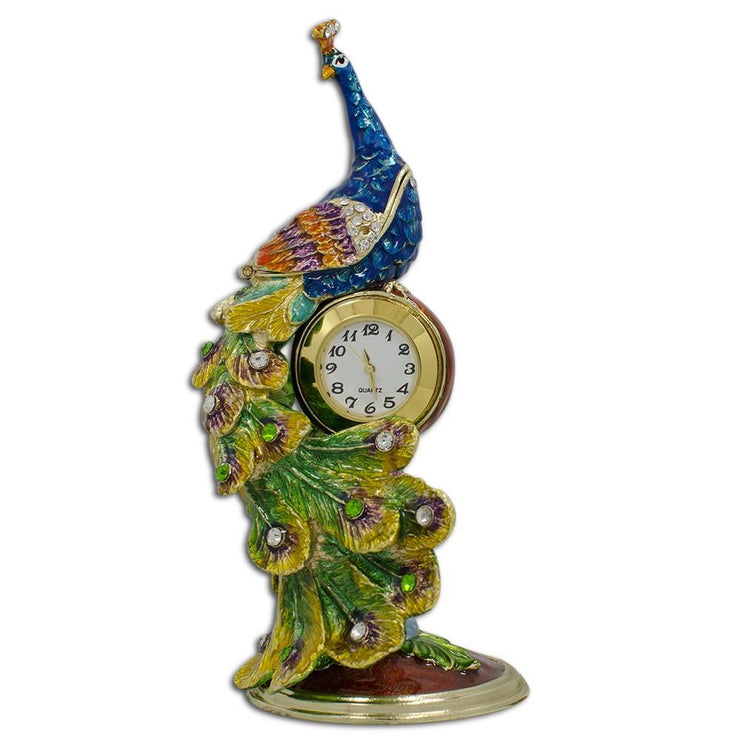 Peacock Sitting on a Clock  Trinket Box Figurine 5.5 Inches by BestPysanky