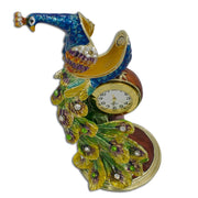 Peacock Sitting on a Clock  Trinket Box Figurine 5.5 Inches