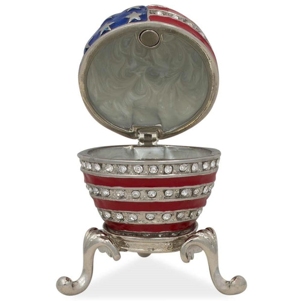 USA Flag Enameled Jeweled Royal Inspired Egg 2.5 Inches