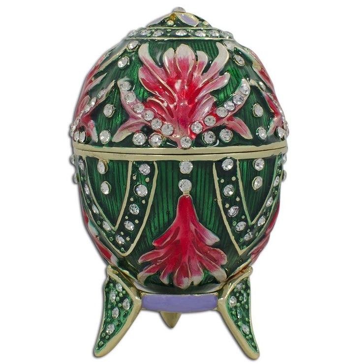 Jeweled Amaryllis Flowers Royal Inspired Russian Egg 3.5 Inches by BestPysanky