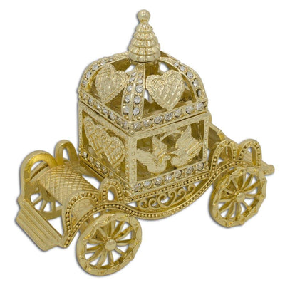 Golden Royal Coronation Coach Trinket Box Figurine by BestPysanky