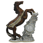Jeweled Noble Horse with Clock Trinket Box Figurine 4.5 Inches by BestPysanky
