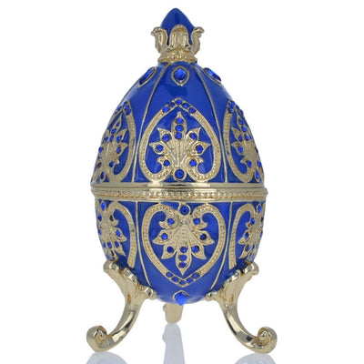 Blue Jewel Royal Crown Royal Inspired Russian Egg 4.5 Inches by BestPysanky