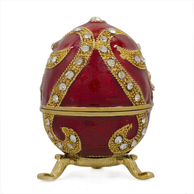 Oriental Style Red Enamel Royal Inspired Russian Easter Egg 2.75 Inches by BestPysanky
