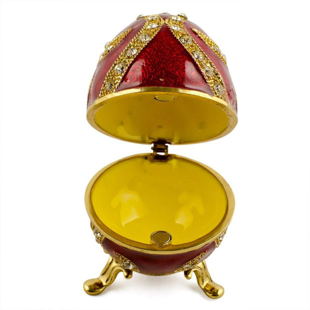 Buy Online Gift Shop Oriental Style Red Enamel Royal Inspired Russian Easter Egg 2.75 Inches