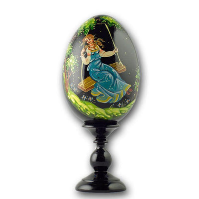 "BestPysanky Easter Eggs > Russian Eggs - 6.25"" Girl on a Swing Collectible Wooden Russian Easter Egg"