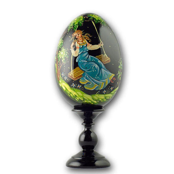 "6.25"" Girl on a Swing Collectible Wooden Russian Easter Egg 
