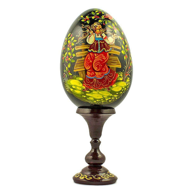 "BestPysanky Easter Eggs > Russian Eggs - 6.25"" Young Girl in the Garden Collectible Wooden Russian Easter Egg"
