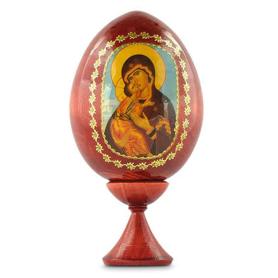 Mary Icon Russian Wooden Easter Egg 3.5 Inches by BestPysanky