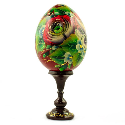 Rose Flower Russian Wooden Easter Egg by BestPysanky