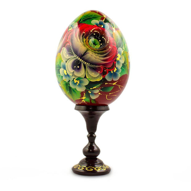 Rose Flower Russian Wooden Easter Egg