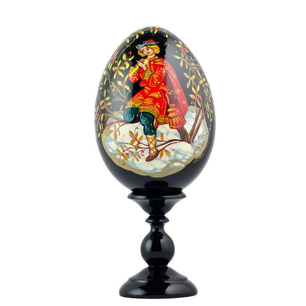 "BestPysanky Easter Eggs > Russian Eggs - 6.25"" Flute Boy Hand Painted Collectible Wooden Russian Easter Egg"