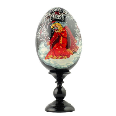 Girl on A Snow Collectible Wooden Russian Easter Egg 6.25 Inches by BestPysanky