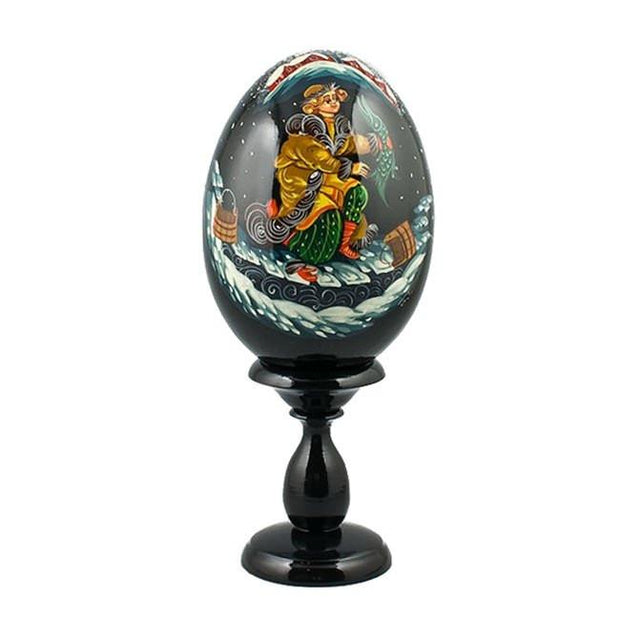 "BestPysanky Easter Eggs > Russian Eggs - 6.25"" Ivanushka with Pike Fairy Tale Collectible Wooden Russian Easter Egg"