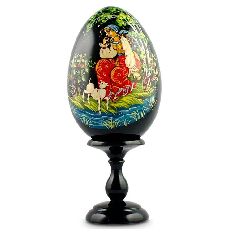 Fairy Tale Alenushka Hand Painted Wooden Russian Easter Egg 6.25 Inches by BestPysanky