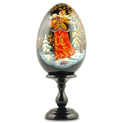 "BestPysanky Easter Eggs > Russian Eggs - 6.25"" Girl Celebrating Christmas Collectible Wooden Russian Easter Egg"