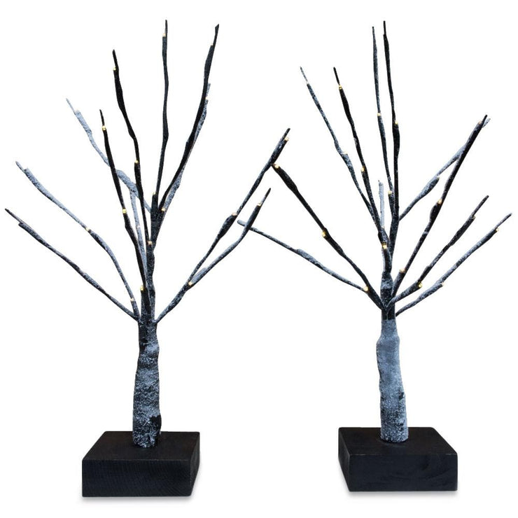 Set of 2 White LED Snowy Tabletop Trees Christmas 16 Inches by BestPysanky
