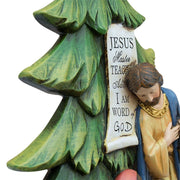 Mary, Joseph and Jesus Nativity Tabletop Christmas Tree Figurine 13 Inches
