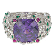 Crystal Glass CZ Design Sterling Silver Ring (Size 8)
