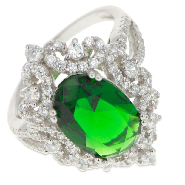 Green Oval CZ Rhodium Sterling Silver Ring (Size 8)