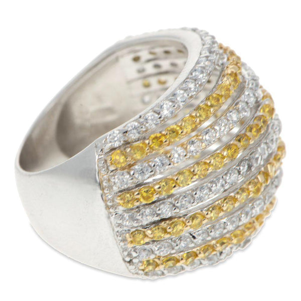 Yellow and Clear CZ Sterling Silver Ring (Size 7)