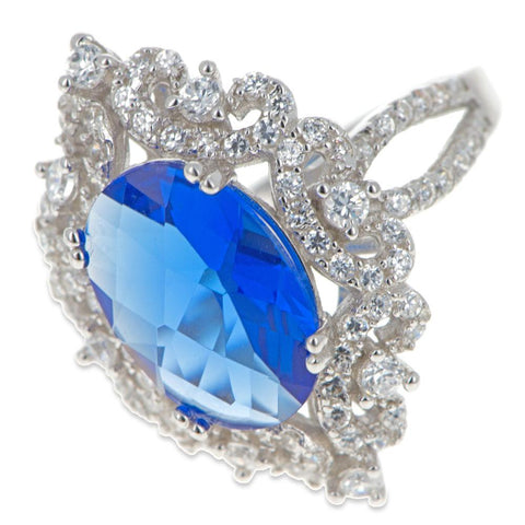 Blue Oval CZ Rhodium Sterling Silver Ring (Size 7)