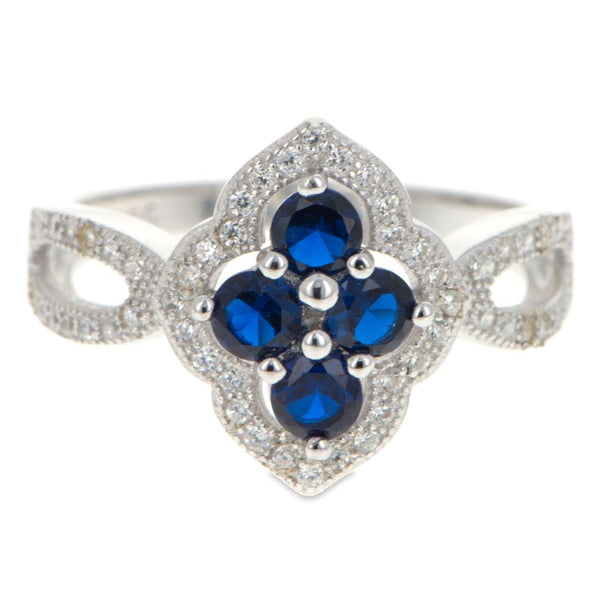 Blue CZ Flower Sterling Silver Ring (Size 7)