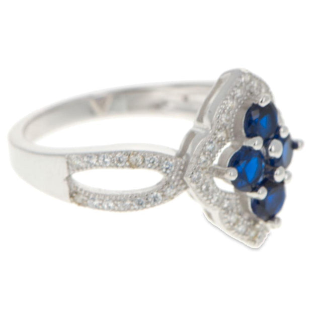 Blue CZ Flower Sterling Silver Ring (Size 8)