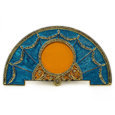Aqua Enameled Semicircular Russian Royal Picture Frame by BestPysanky