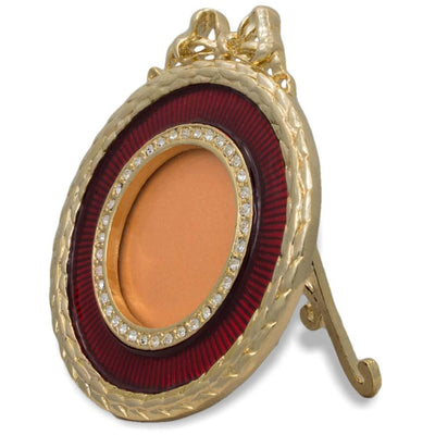 Red Enameled Guilloche Round Russian Antique Style Picture Frame 3 Inches by BestPysanky
