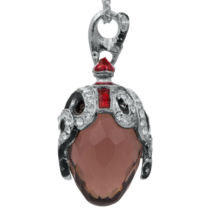 Buy Online Gift Shop Crystal Snake on Black Stone Royal Egg Pendant Necklace 20 Inches