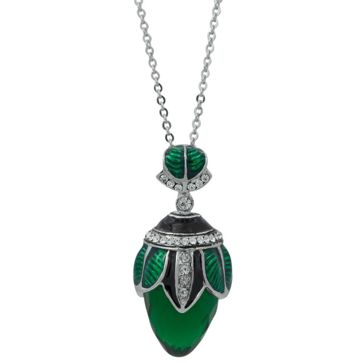 Green Crystal Water Drop Royal Egg Pendant Necklace 20 Inches by BestPysanky