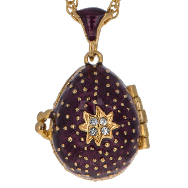 19 Crystal Cross on Purple Royal Russian Egg Pendant Locket Necklace 20 Inches