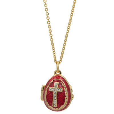 Red Enamel Crystal Cross Royal Egg Pendant Necklace 20 Inches by BestPysanky