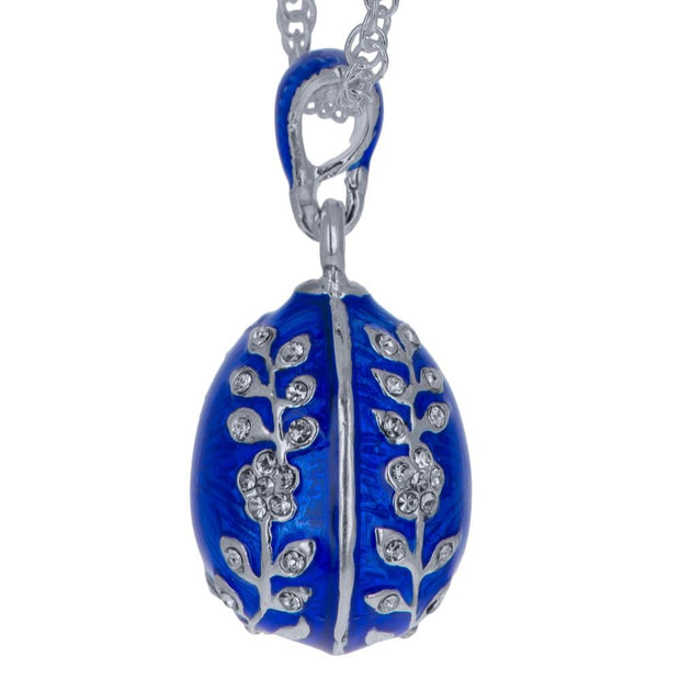 Olive Branches Blue Enamel Royal Egg Pendant Necklace 20 Inches