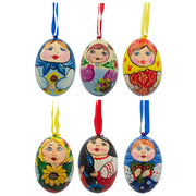 6 Ukrainian and Russian Matryoshka Doll Wooden Christmas Ornaments 3 Inches by BestPysanky