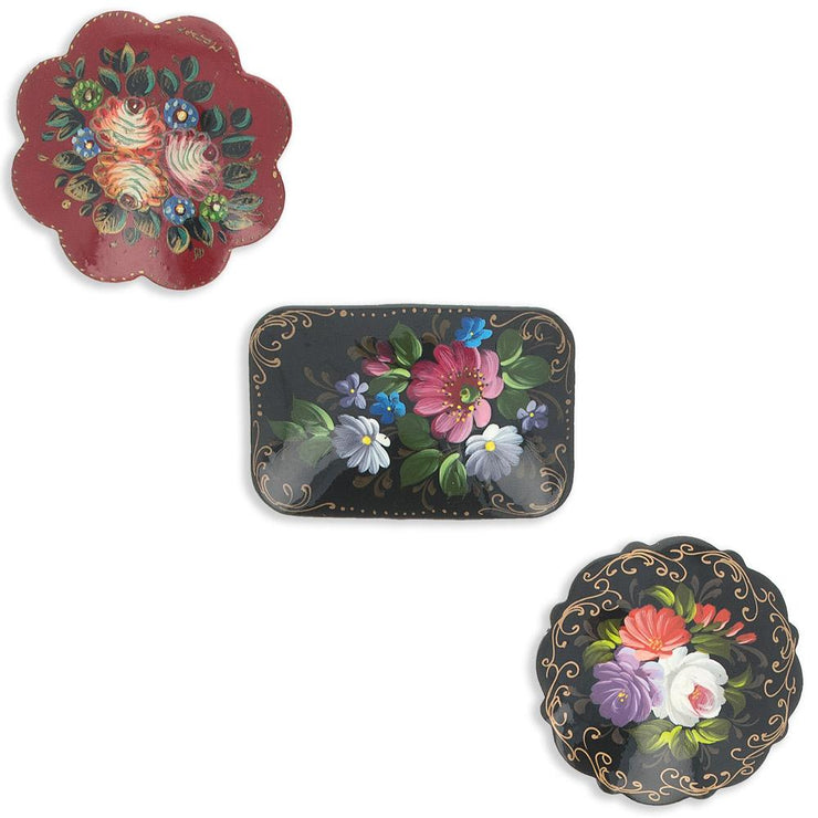 Set of 3 Wooden Hand Painted Flower Brooches in Various Shapes 2 Inches by BestPysanky