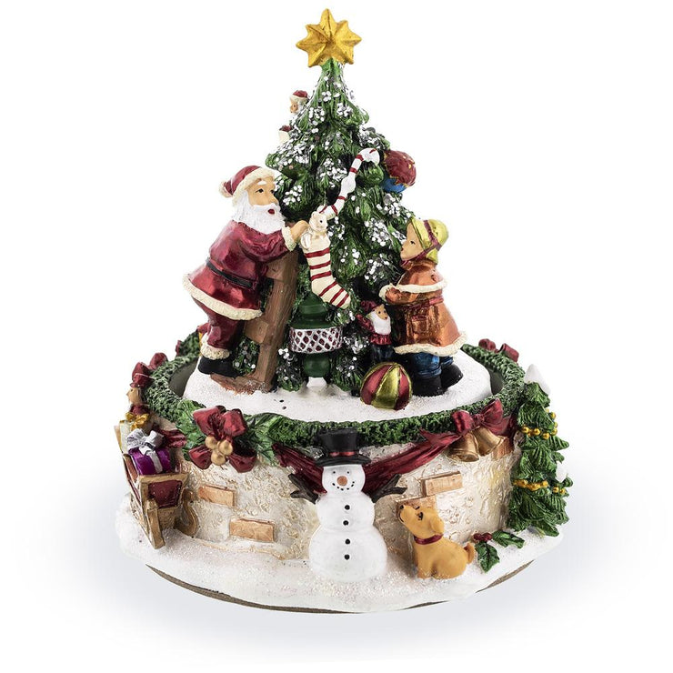 Santa and Girl Decorating Christmas Tree Spinning Musical Figurine